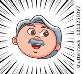 grandfather person head comic | Shutterstock .eps vector #1313251097
