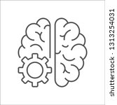 vector logo icon with brain and ... | Shutterstock .eps vector #1313254031