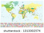 world map and flags   borders ... | Shutterstock .eps vector #1313302574