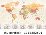 world map and flags   borders ... | Shutterstock .eps vector #1313302601
