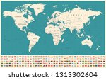 world map and flags   borders ... | Shutterstock .eps vector #1313302604
