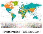 world map and flags   borders ... | Shutterstock .eps vector #1313302634