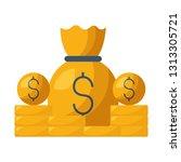 money bag dollar coins currency | Shutterstock .eps vector #1313305721