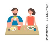 vector young couple having... | Shutterstock .eps vector #1313307434
