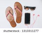 flat lay traveler accessories... | Shutterstock . vector #1313311277