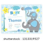 Stock vector card vectorial baby shower child baby elephant illustration 1313319527