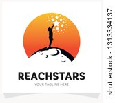 children reach stars logo... | Shutterstock .eps vector #1313334137