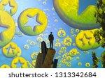 star symbol. 2d illustration....   Shutterstock . vector #1313342684