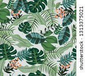 greenery tropical botanical... | Shutterstock .eps vector #1313375021