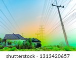 background of electricity pole...   Shutterstock . vector #1313420657