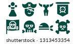 piracy icon set. 8 filled... | Shutterstock .eps vector #1313453354