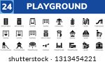 playground icon set. 24 filled... | Shutterstock .eps vector #1313454221