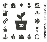 flora icon set. 17 filled flora ... | Shutterstock .eps vector #1313456231