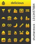 delicious icon set. 26 filled... | Shutterstock .eps vector #1313457884