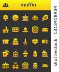 muffin icon set. 26 filled... | Shutterstock .eps vector #1313458934