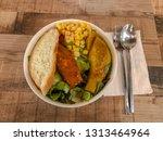 healthy vegetable salad on... | Shutterstock . vector #1313464964