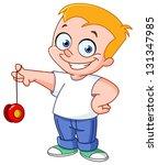 Kid playing with a yo-yo
