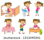 girl daily routine ... | Shutterstock .eps vector #1313490341