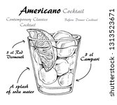 cocktail americano scetch ... | Shutterstock .eps vector #1313523671