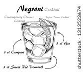 negroni alcoholic cocktail ... | Shutterstock .eps vector #1313523674