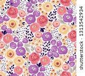 retro seamless floral pattern...   Shutterstock .eps vector #1313542934