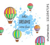 hot air balloon with paint... | Shutterstock .eps vector #1313547191