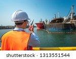 harbor master port control or... | Shutterstock . vector #1313551544