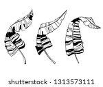 tropical leaves silhouette...   Shutterstock .eps vector #1313573111