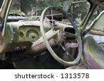 Steering Wheel Of Vintage Us Car