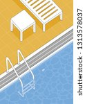 summer pool vector illustration.... | Shutterstock .eps vector #1313578037