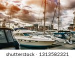 different yachts and boats... | Shutterstock . vector #1313582321