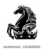 horse and royal crown   black... | Shutterstock .eps vector #1313605631