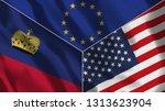 lichtenstein and usa america 3d ...   Shutterstock . vector #1313623904