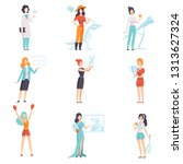 women of different professions... | Shutterstock .eps vector #1313627324