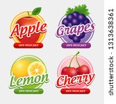 pack four juice stickers with... | Shutterstock .eps vector #1313638361