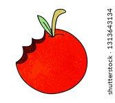 hand drawn quirky cartoon apple | Shutterstock .eps vector #1313643134