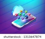 mobile phone with social icons... | Shutterstock .eps vector #1313647874