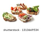 fresh tasty bruschettas on... | Shutterstock . vector #1313669534
