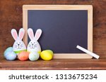 egg bunnies  before  a empty... | Shutterstock . vector #1313675234
