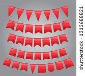 set of vintage red  garland ...   Shutterstock .eps vector #1313688821