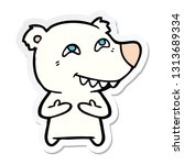 sticker of a cartoon polar bear ... | Shutterstock .eps vector #1313689334