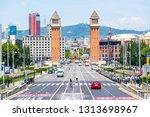 plaza of spain  barcelona in... | Shutterstock . vector #1313698967