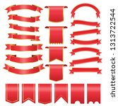set of red arch  banner icon... | Shutterstock .eps vector #1313722544
