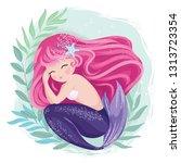 sleepy mermaid vector... | Shutterstock .eps vector #1313723354