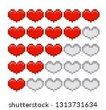 life bar. health bar. pixel art | Shutterstock .eps vector #1313731634