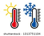 thermometer icon or temperature ... | Shutterstock .eps vector #1313751104