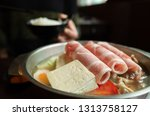 closeup image of hot pot with...   Shutterstock . vector #1313758127