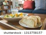 breakfast with milk  fruit and...   Shutterstock . vector #1313758157