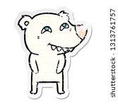 distressed sticker of a cartoon ... | Shutterstock .eps vector #1313761757