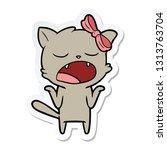 sticker of a cartoon yawning... | Shutterstock .eps vector #1313763704